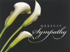 "Sympathy greeting card designs with a calla lily and the words ""Deepest Sympathy"""