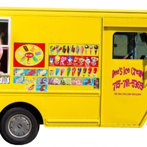 17-year-old girl with blonde hair and a pink shirt, holding an ice cream cone out the window of a yellow ice cream truck.