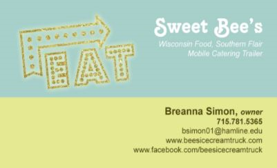 The back of a light blue and green business card for Bee's Ice Cream - incorporating company info and a decorative emblem that says 'Eat'.
