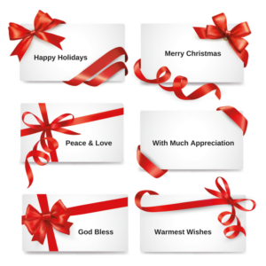 six gift tags with red bows are presented in two columns there is - Christmas Card Closings