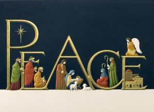 The birth of Christ is displayed throughout the word 'Peace' written in gold - The Star of Bethlehem, the three wise men, Joseph, Mary, Jesus in the manger, two little lambs, Luke and Matthew, the angel Gabriel, and the town of Bethlehem. Ecru ground rests underneath their feet and behind them, a sky of midnight blue.