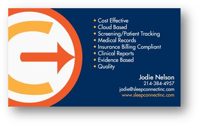 Blue, orange, and white business card with company logo and information for Sleep Connect, Inc.