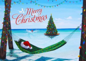 A tropical Christmas landscape, is presented with a red and white Santa hat resting on a green hammock, hanging within a group of tree trunks decorated with holiday lights. Beyond the hammock, lies vast blue waters. Off in the distance, a man we presume to be Santa Clause, jet ski's around a Christmas tree decorated with multicolored lights. The words 'Merry Christmas' are written in red, across the blue sky above.