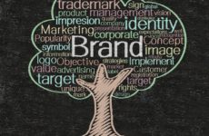 A tree drawn against a chalkboard out of different colors like green, white, yellow, red and brown. Various marketing words make up its leafy top like brand, logo, target, concept, and trademark.