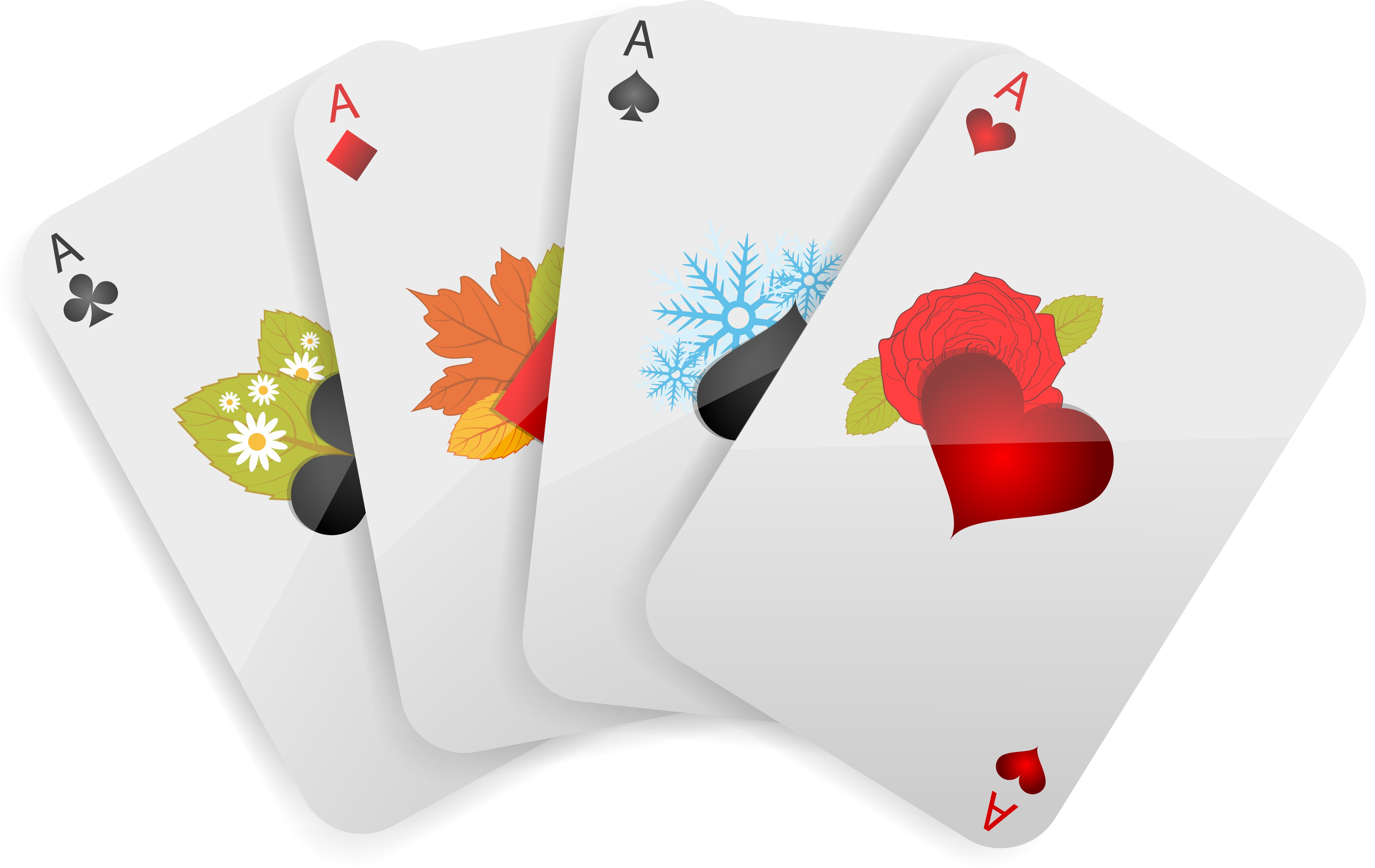 Four aces are decorated with seasonal foliage. The ace of clubs represents spring with fresh leaves and white flowers. The ace of diamonds represents autumn with a grouping of leaves in green, orange, yellow, and red. The ace of spades represents winter with icy blue snowflakes. The ace of hearts represents summer with a red rose.