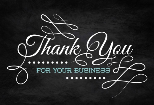 'Thank You • For Your Business' is written against a chalkboard background in stylized white and teal fonts.