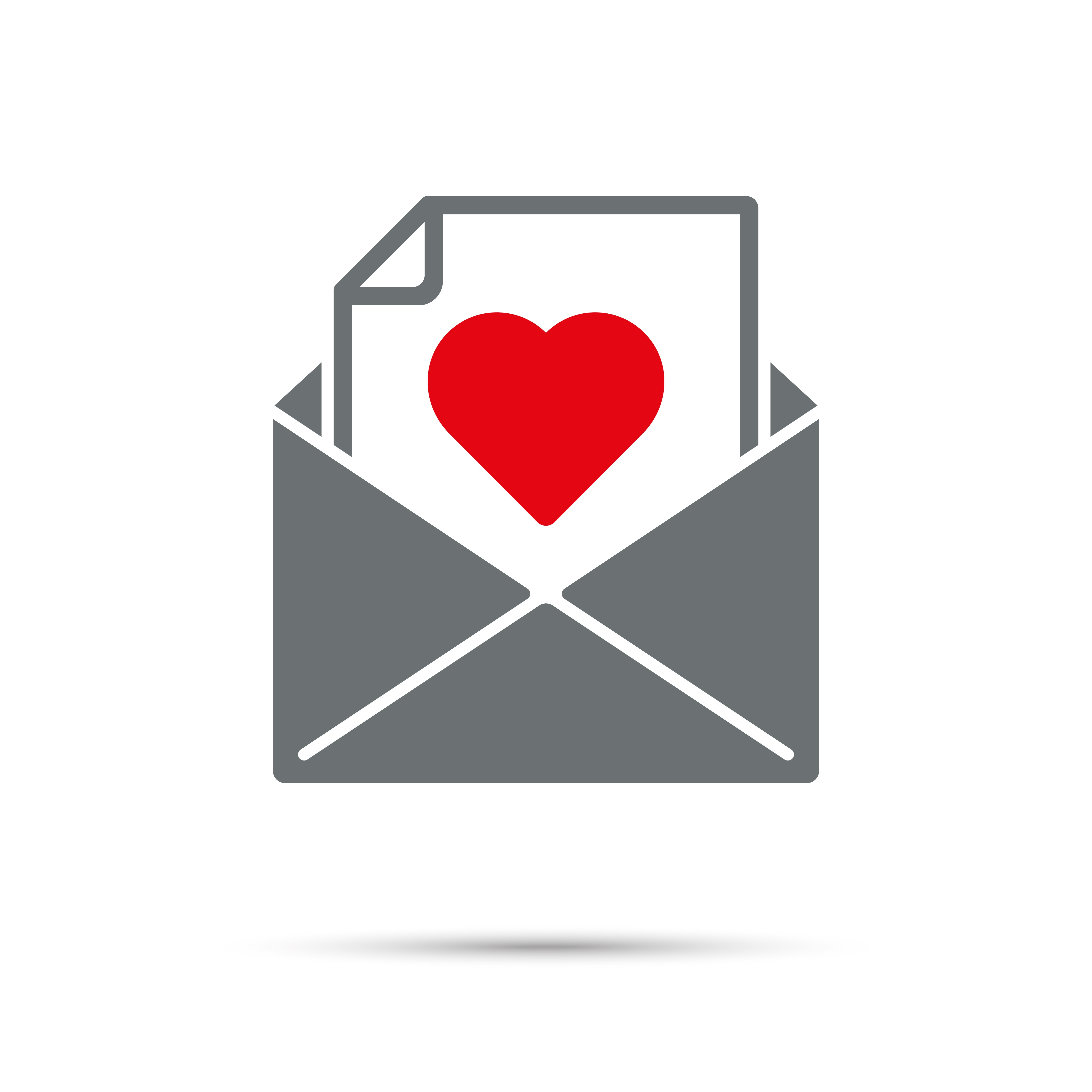 Icon of an open gray envelope with a piece of paper inside that includes a large red heart on it.