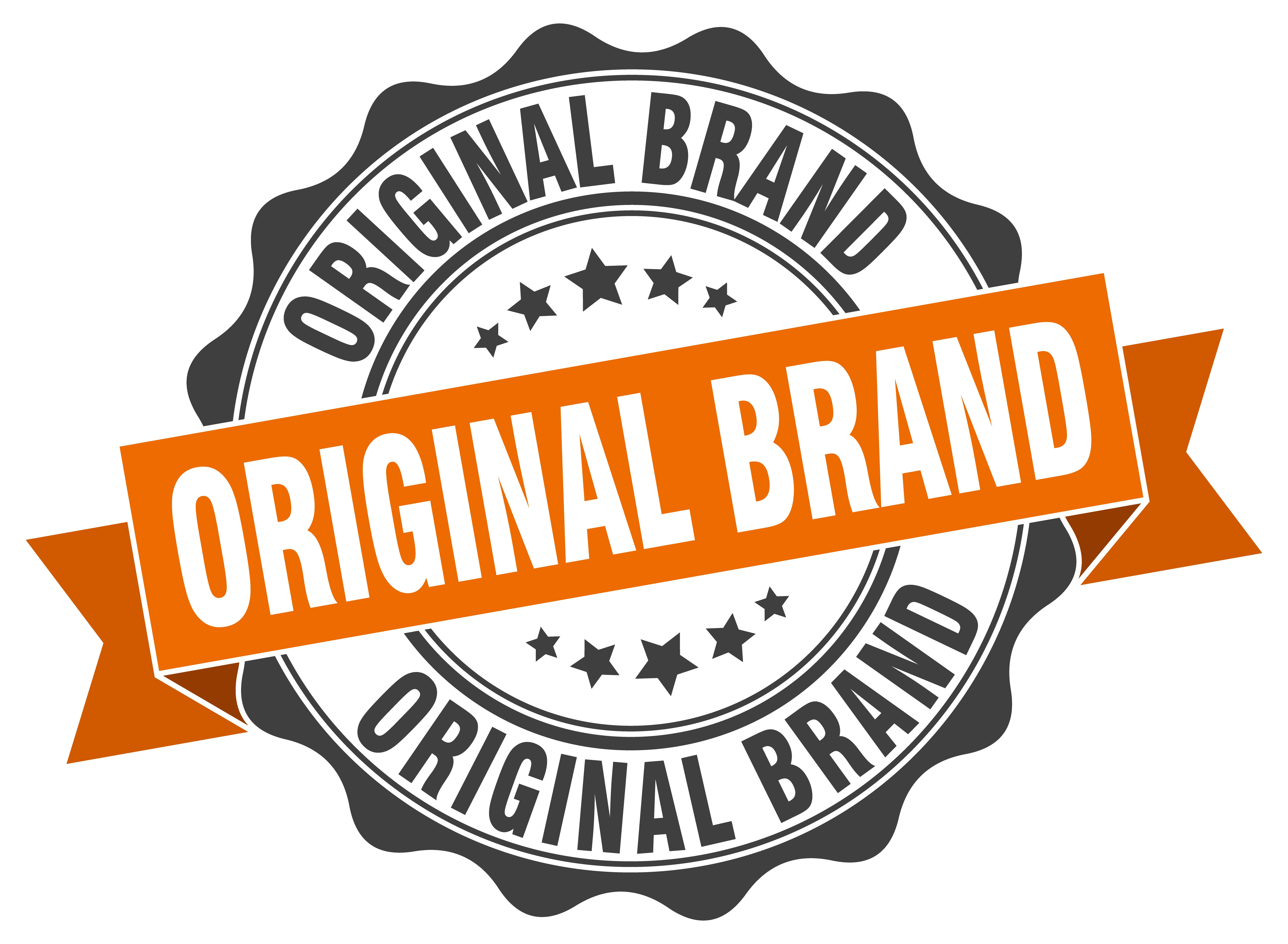 A circular sign that repeats the words 'Original Brand' three times. The words are written in gray and white, an orange banner flies across the center, there are two groupings of gray stars.