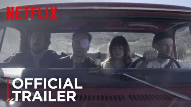 Trailer shot for the Netflix movie Girlfriend's Day. Bob Odenkirk and his co-star Amber Tamblyn ride in a red truck with two ruthless thugs.