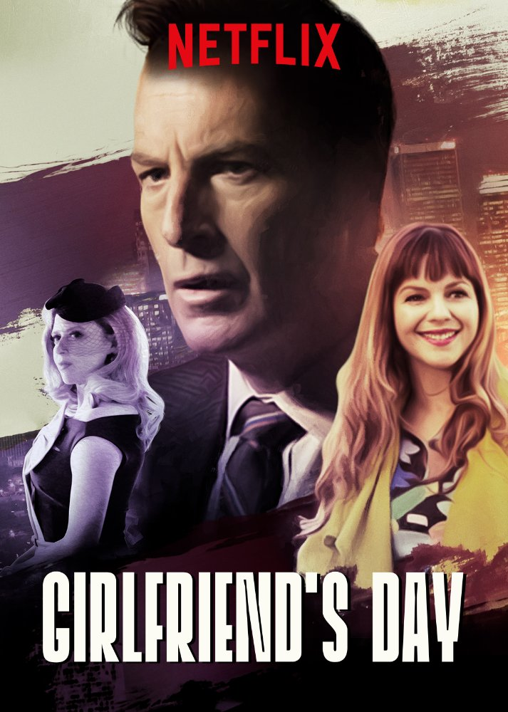 Movie poster for Netflix's new original feature, Girlfriend's Day; includes, from left to right, Natasha Lyonne, Bob Odenkirk, and Amber Tamblyn, presented in noir-like style against a brush stroke pattern of a cityscape and colors of black, white, and muted pastels.