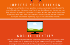 A series of infographics that are stacked on top of each other, against a vibrant orange background. The infographics include a monkey-like face with bulging eyes, a dog, a modern computer monitor, Egyptian pyramids, and a backpack. Below the images are various captions that range in topics; from social identity to time travel, with corresponding text underneath.