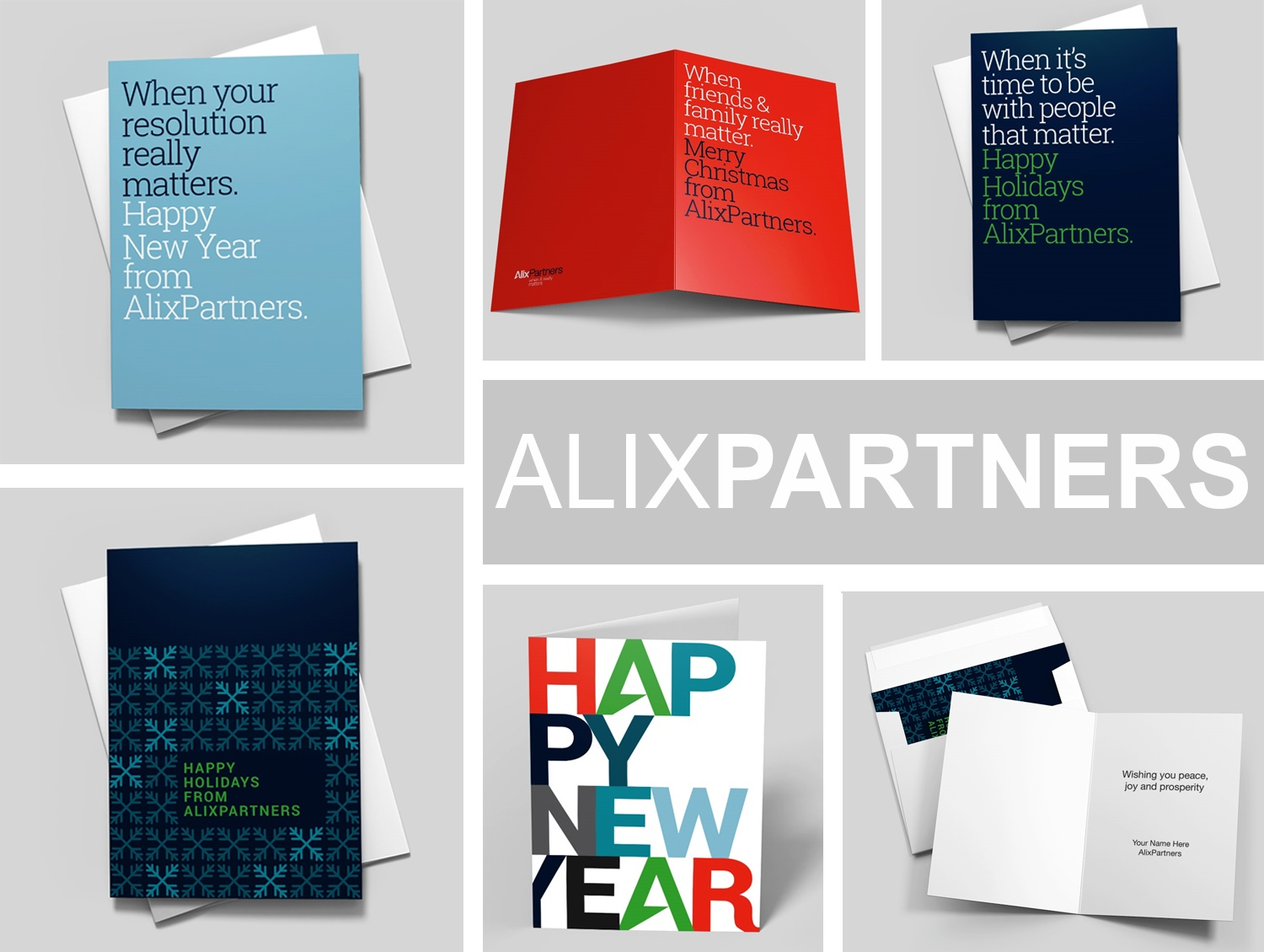 An arrangement of colorful greeting cards displayed in 6 different blocks, designed by Alix Partners and sold by CardsDirect.