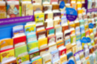 Blurred image of a greeting card display.