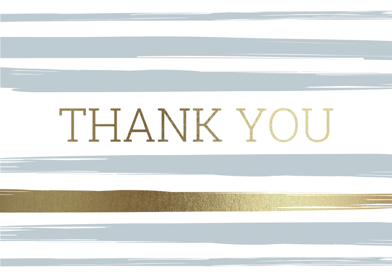 Closeup of a greeting card with gold and gray colored stripes and the words thank you written in gold.