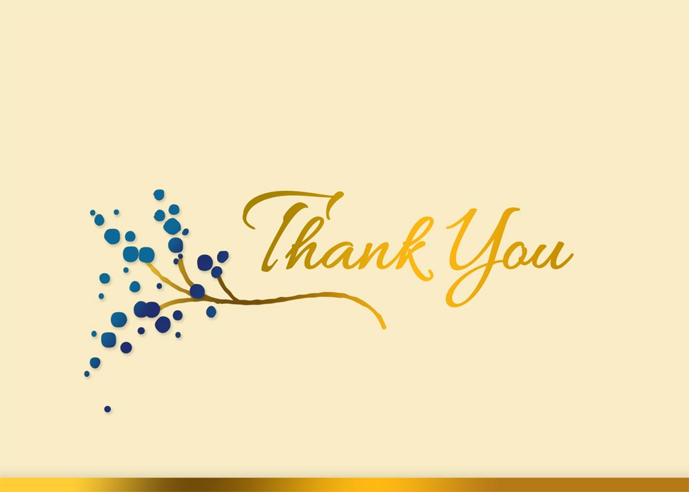 The words 'Thank You' are written in gold against a pink-beige background and right above a small golden branch with blue berries.