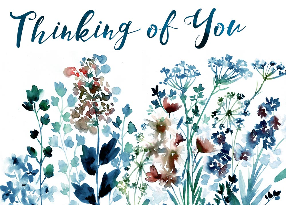 Watercolor drawings of wildflowers in stunning tones of brown, red, blue, and green are beneath the words 'Thinking of You' in a blue-green font.