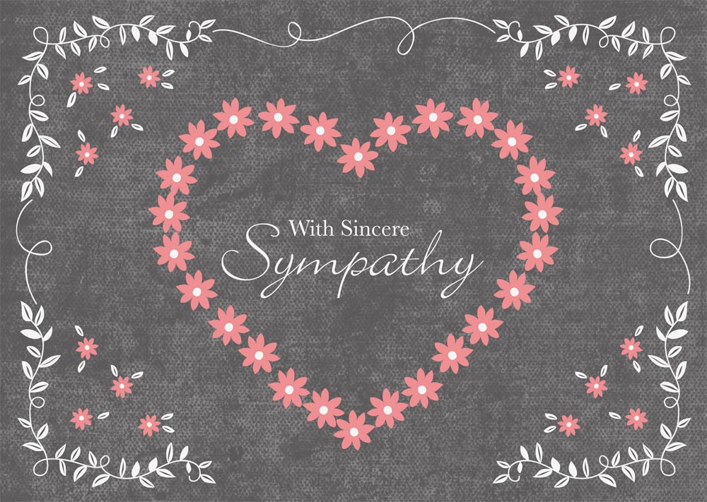 'With sincere sympathy' is written against a chalkboard background inside a heart made of pink flowers. Additional floral accents in white and pink boarder the outside of the design.