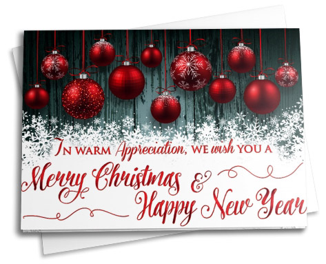 . Deep red ornaments, pure white snowflakes, and a dark teal wood-grain background create a beautiful holiday greeting card.