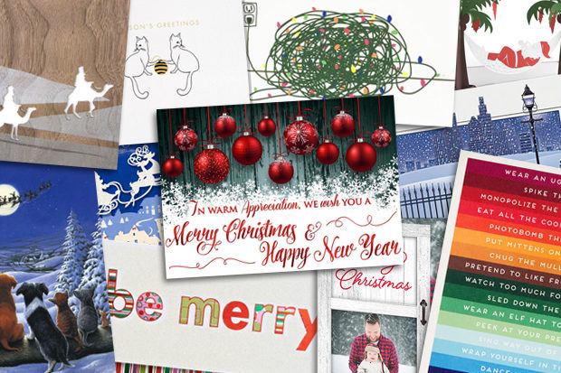 A pile of various holiday cards.