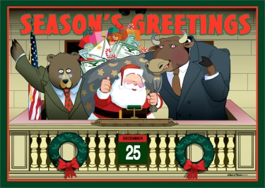 Stock-broker-oriented cartoon where Santa is standing with a bull and bear on Christmas day.