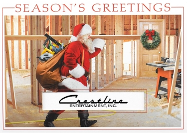 Santa has his tools and is ready to build a house on this construction-oriented holiday card.