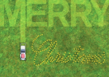 Someone has lawn-mowed Merry Christmas into the grass.