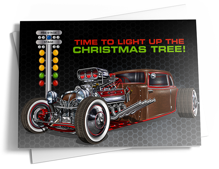 A brown and red muscle car is positioned near drag racing lights - the message reads, 'Time to light up the Christmas tree.'