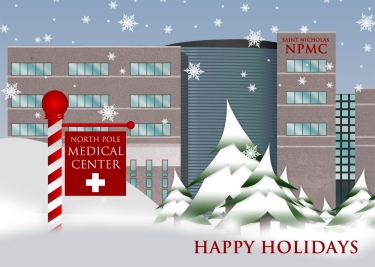 A healthcare-oriented greeting where a medical center is stationed at the North Pole.