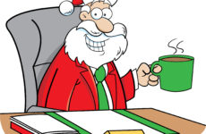 Cartoon of Santa sitting at a desk holding a cup of coffee.