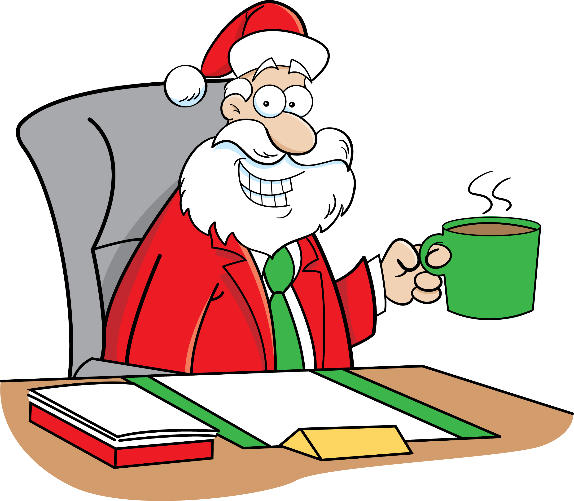 Funny christmas cards perfect for your business cardsdirect blog cartoon of santa sitting at a desk holding a cup of coffee funny christmas cards colourmoves