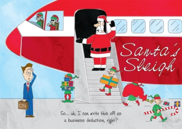 Cartoon where Santa is boarding a plane with his elves.