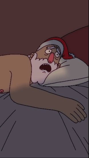 A shirtless Santa wakes up in bed and realizes he is late for work.