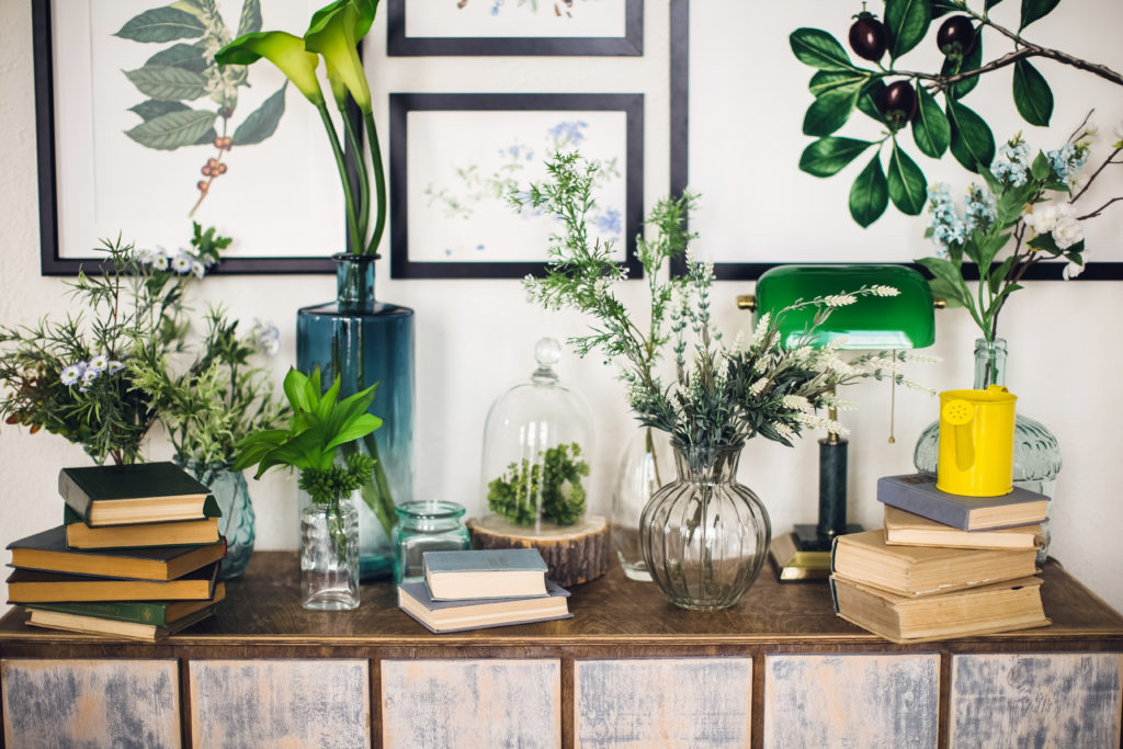 Terrariums, vases, and pots display a wide-range of green plants on a wooden desk with books. Blank frames are displayed on a white wall behind them.