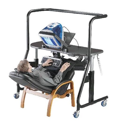 Sit-stand-recline desk