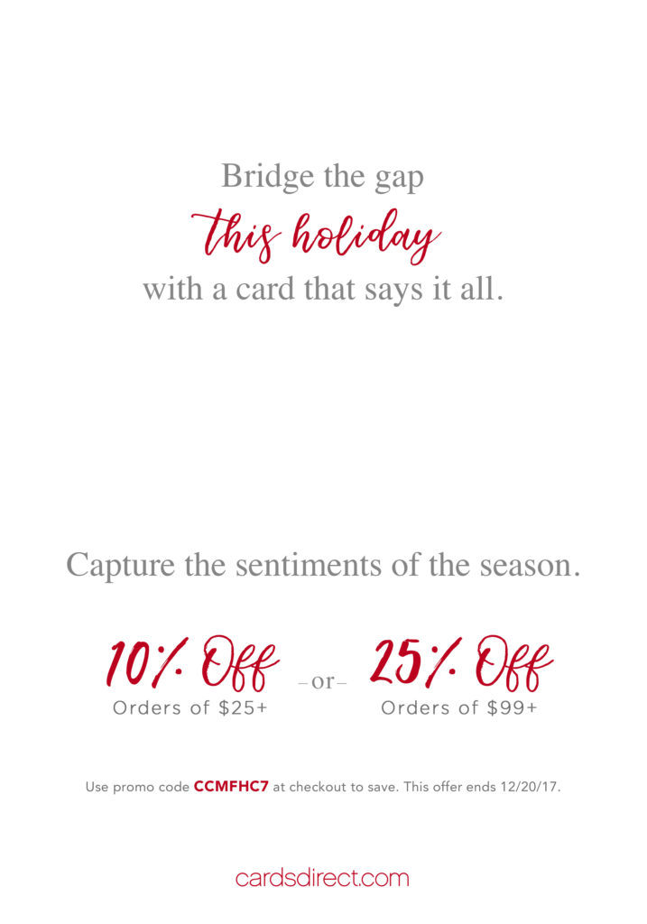 Business holiday card interior with text and promotion.