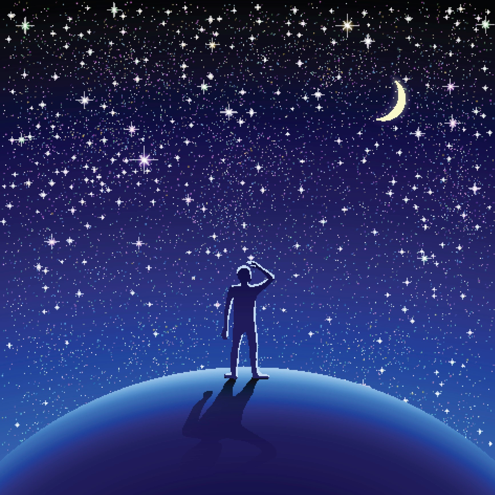 Cartoon silhouette of a man on earth watching the starry sky.