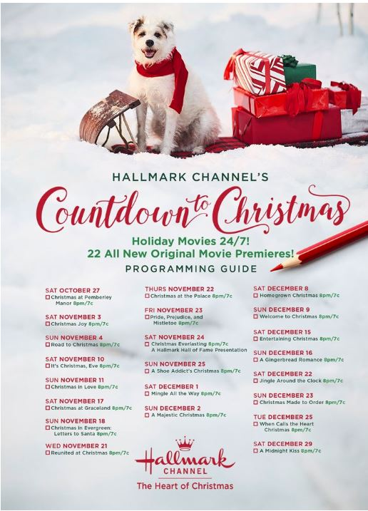 List of 2018 Christmas movies on the Hallmark Channel with a dog at the top outfitted in holiday attire. on a sled with wrapped presents.
