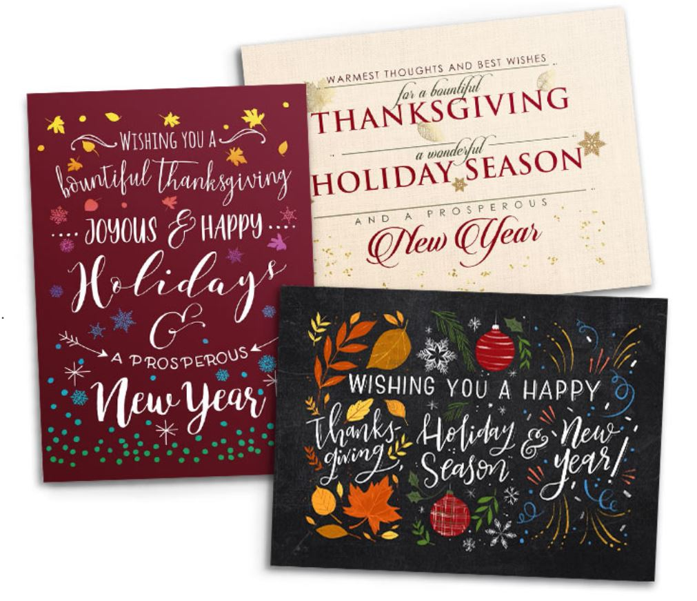 Holiday Greeting Cards in different colors.