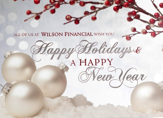 The words 'Happy Holidays & A Happy New Year' are written in stylish silver and red scripts against a soft silver background with white boheh lights and red berries.