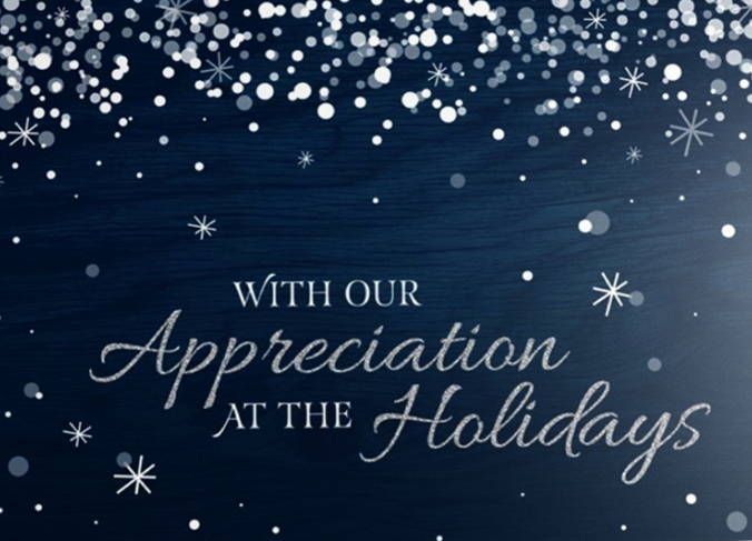 A snowstorm covers a midnight blue background, surrounding a message of 'With Our Appreciation at the Holidays' shown in elegant silver letters. The midnight blue background has a subtle wooden texture that covers both sides of the card, giving it a memorable and rustic winter feel.
