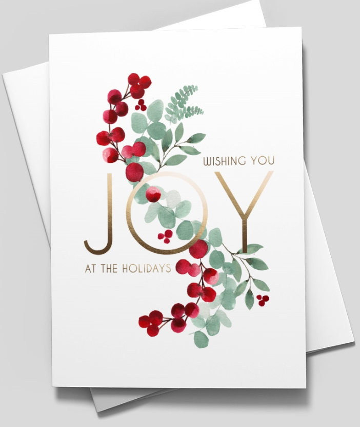 Beautiful pale green leaves that intertwine with vibrant red berries. The text, shown in stylish gold letters, reads 'Wishing You Joy At The Holidays.'