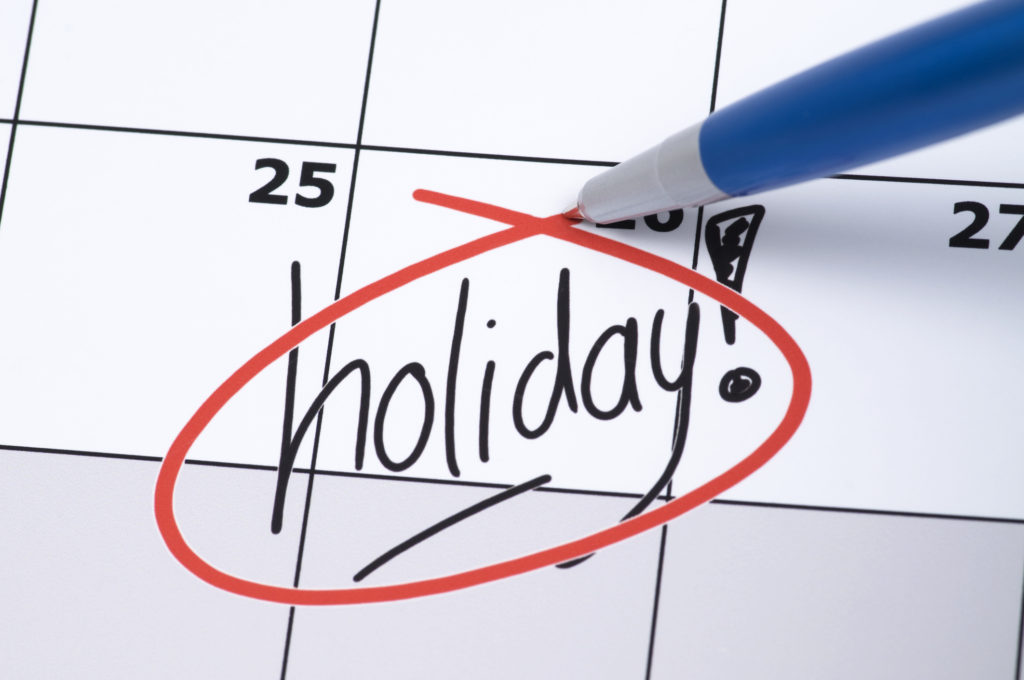 It is finally holiday! Marked and written holiday in a calendar.