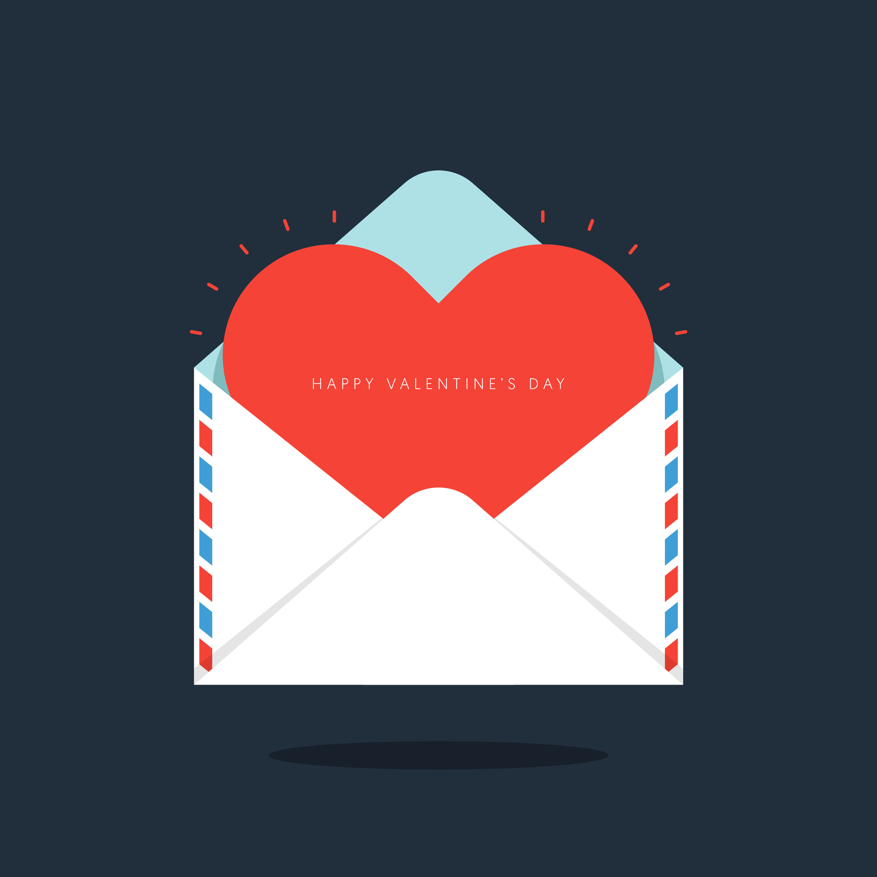 Red heart in envelope Valentine's day concept flat design. Design element can be used for background, poster, greeting card, brochure, leaflet, flyer, print, backdrop, vector illustration