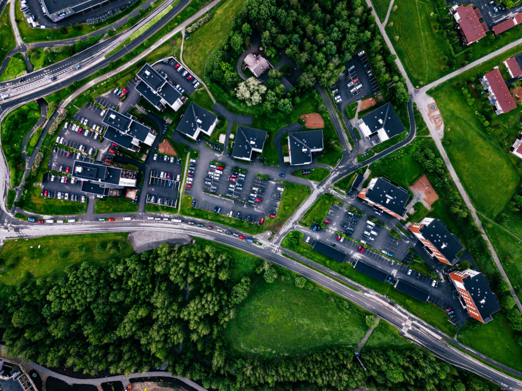 Aerial view of a small town or village in Europe from the drone. Finland countryside in summer.