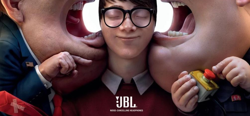 JBL ad where Donald Trump and Kim Jong-un are shouting in a customer's ear.