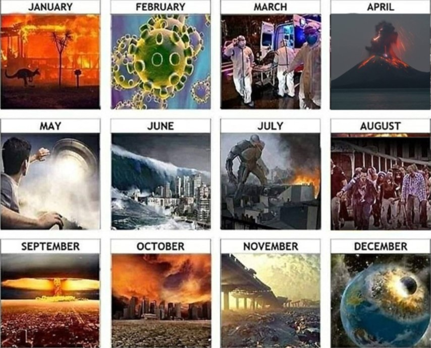 A 2020 calendar with various images depicting the factual and fictional disasters of 2020.