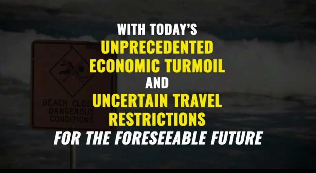 Message about economic turmoil in uncertain times shown in white and yellow text against a black background.