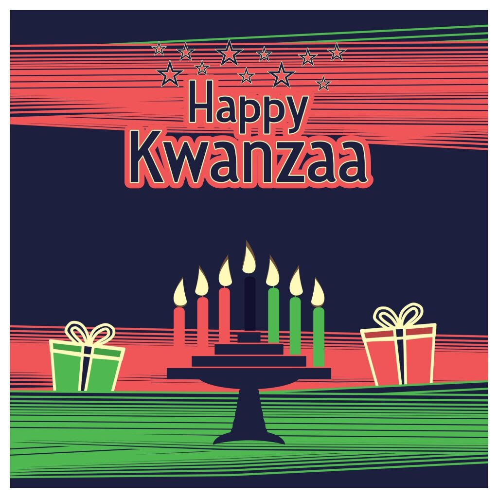 Image of Kwanzaa candles with a message of 'Happy Kwanzaa' and two gifts, all shown in colors of red, black, and green.