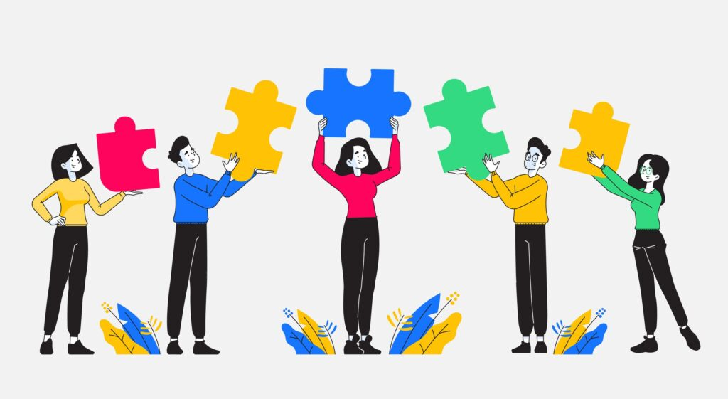 Teamwork, cooperation and partnership. Group of young and stylish people holding colored puzzle pieces on their hand. Business team and diversity concept. Vector illustration
