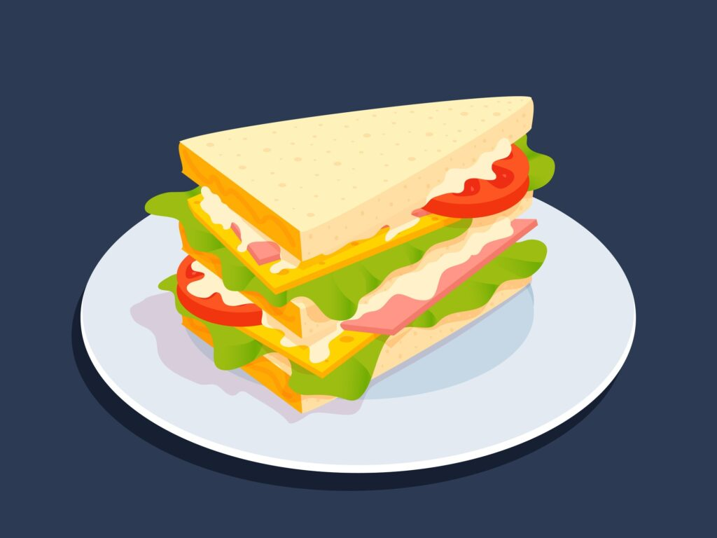 Colorful graphic of a sandwich.